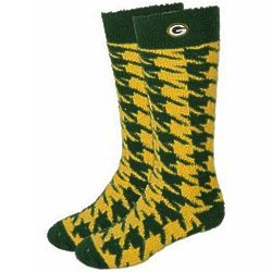 Lady's Green Bay Packers Houndstooth Long Sleep Soft Socks