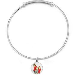 Petite Round Silver Diamond Cut Photo Bangle Bracelet