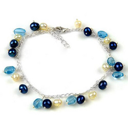 Blue Topaz and Pearl Bracelet in Sterling Silver