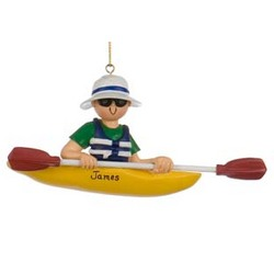 Personalized Male Kayak Christmas Ornament