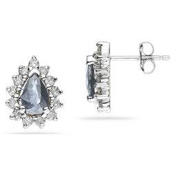 Pear Shaped Aquamarine and Diamond Flower Earrings