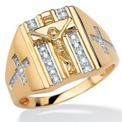 Gold Over Silver Diamond Men's Ring
