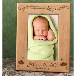 Personalized Two People Fell in Love Wooden Picture Frame