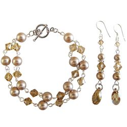 Champagne Pearls Bracelet and Earrings