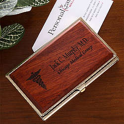 Medical Specialties Personalized Rosewood Business Card Case