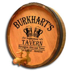 Personalized Neighborhood Tavern Quarter Barrel Sign