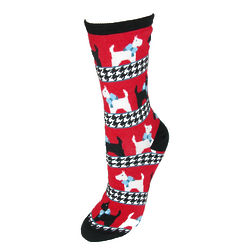 Scottie Dog Houndstooth Trouser Socks