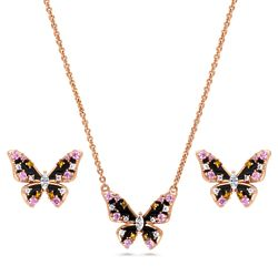 Rose Gold Flashed CZ Butterfly Enamel Stud Earrings and Necklace