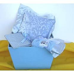 Blue Chenille Pillow Baby Gift Set