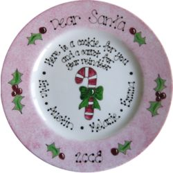 Dear Santa Candy Cane Hand Painted Plate