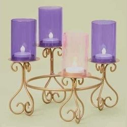 Advent Wreath with Glass Chimney Votives