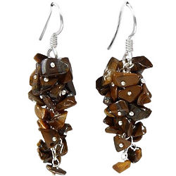 Tiger Eye Cluster Earrings