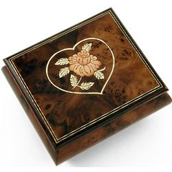 Burl Walnut Flower Musical Jewelry Box