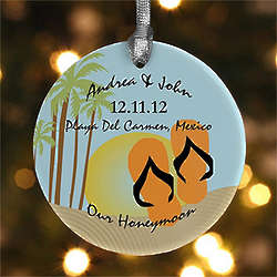 Honeymoon Paradise Personalized Christmas Ornament