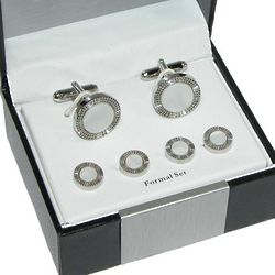 Men's Polished Rhodium and Mother-of-Pearl Dress Set