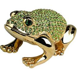 24K Gold Green Frog Crystal Trinket Box