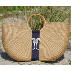 Seahorse Shorty Basket Beach Bag