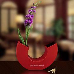 Personalized Red Ceramic U Vase