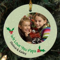 Custom Photo Ceramic Holly Ornament