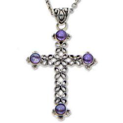 Jasmine Light Amethyst Cross Necklace