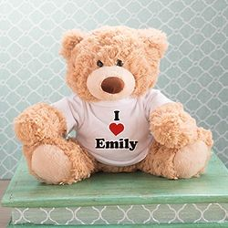Coco Teddy Bear with Personalized I Love You Heart T-Shirt