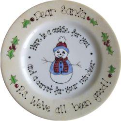 Dear Santa Snowman Hand Painted Plate