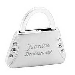 Personalized Brushed Silver Purse Key Chain with Rhinestones