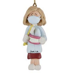 Personalized Female Dentist/Hygienist Christmas Ornament