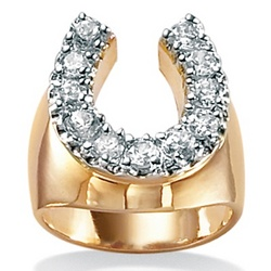 Men's Cubic Zirconia 18K Gold Plated Horseshoe Ring