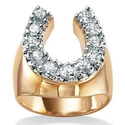 Men's Cubic Zirconia 18K Gold Plated Horseshoe Ring