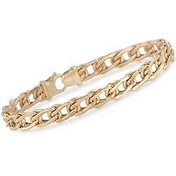 14K Italian Yellow Gold Flat-Link Bracelet