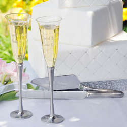 Engraved Rhinestone Champagne Flutes
