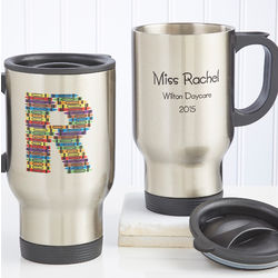 Crayon Letter Personalized Teacher Stainless Steel Travel Mug