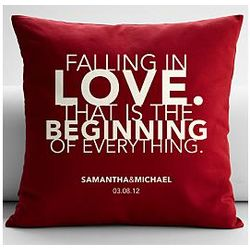 Personalized Falling in Love Quote Throw Pillow