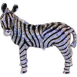 Hand-Set Crystal Zebra Trinket Box