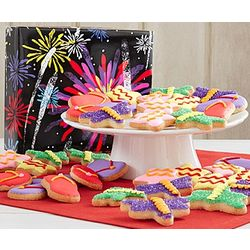 Fireworks and Flip Flops Decorated Cookies