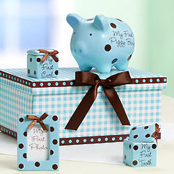 Classic Blue Baby's Firsts Gift Set