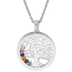 Platinum-Plated Celtic Tree Birthstone Pendant