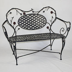 Birds Flower Metal Bench