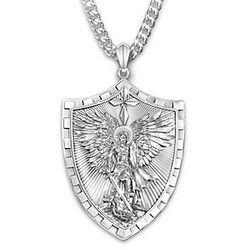 Triumph of St. Michael Pendant Necklace Engraved for Grandson