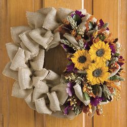Handcrafted Fall Colors Sunflower Wreath