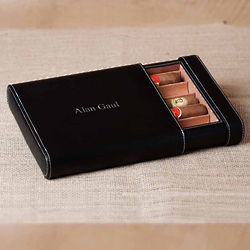 Julliard Black Leather Five Cigar Case