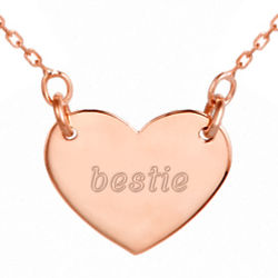 Friends Forever Engravable Rose Gold Heart Necklace