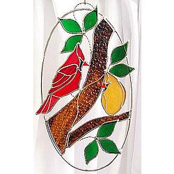 Stained Glass Cardinal Pair on Oval Ring