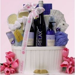 Relax Riesling Wine and Spa Birthday Gift Basket
