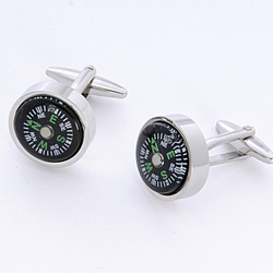 Compass Cuff Links with Personalized Case