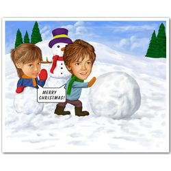 Snowman Caricature Print from Photos