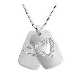 Sterling Silver Open Heart Dog Tag Necklace