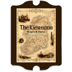 Vintage Personalized Irish Map Family Sign