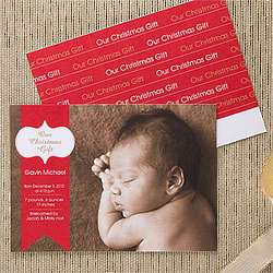 Personalized Baby's First Christmas Birth Announcements
